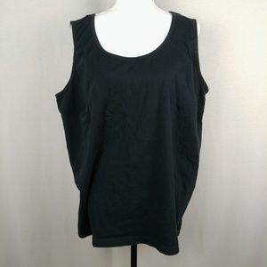Woman Within Black Tank Top Swoop Neck 2X
